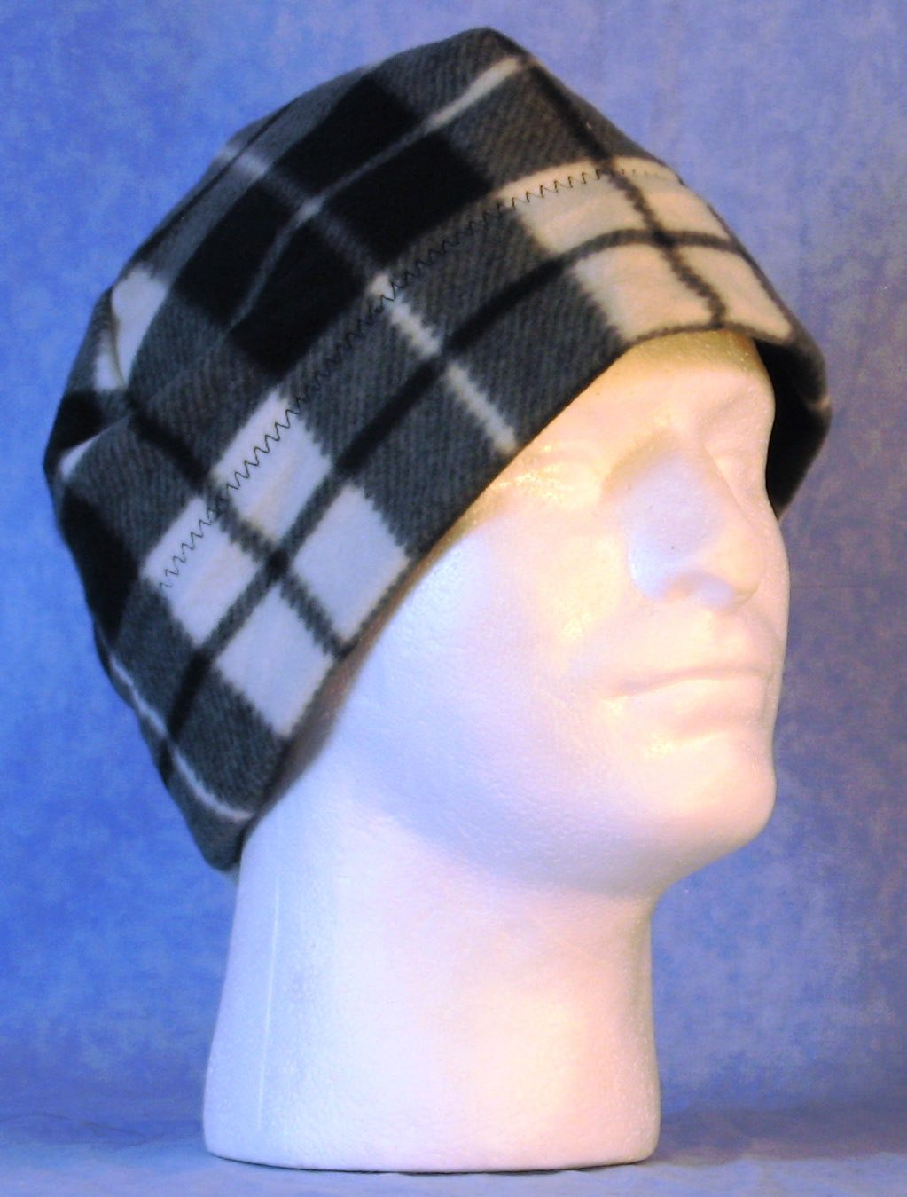 Beanie Band Cap in Black White Gray Plaid-Adult 1XL