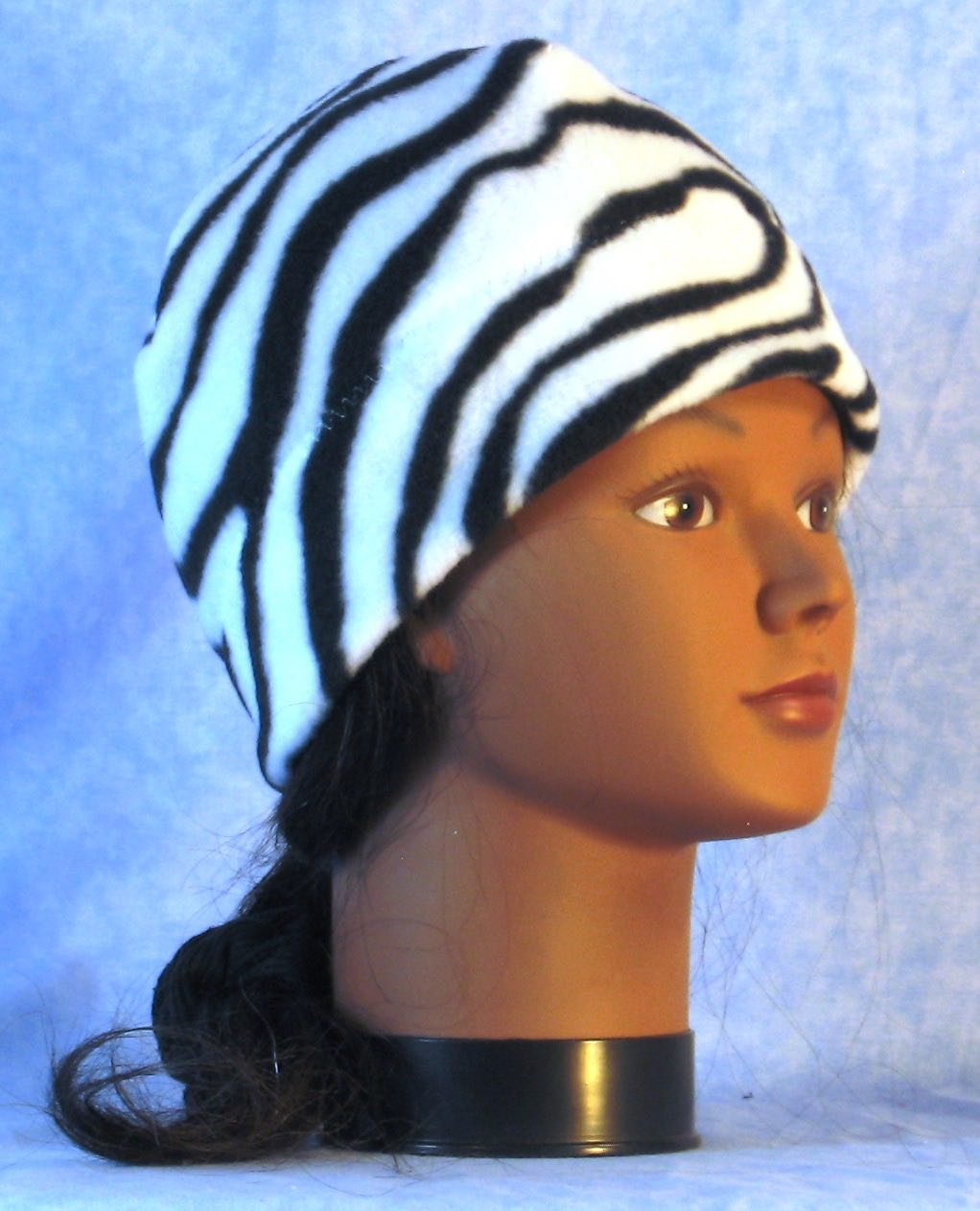 Beanie Band Cap in Black White Zebra-Youth S-M