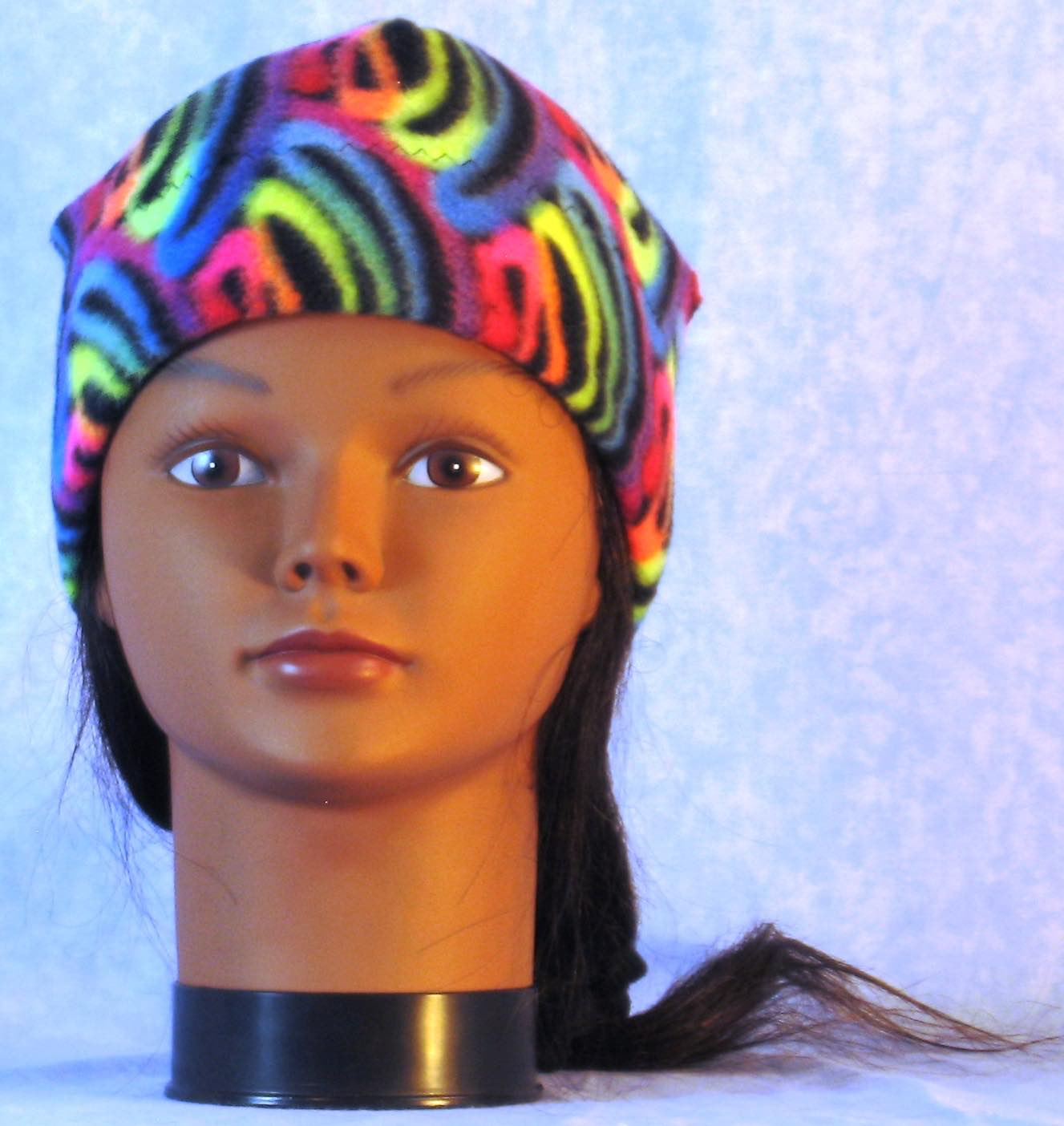 Beanie Band Cap in Fluorescent Swirl-Youth S-M