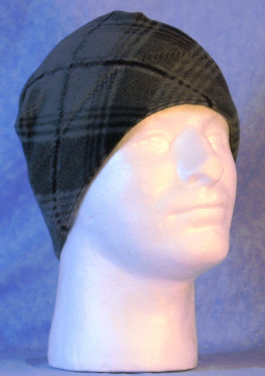 Beanie Band Cap in Gray Black Bias Plaid-Adult 1XL