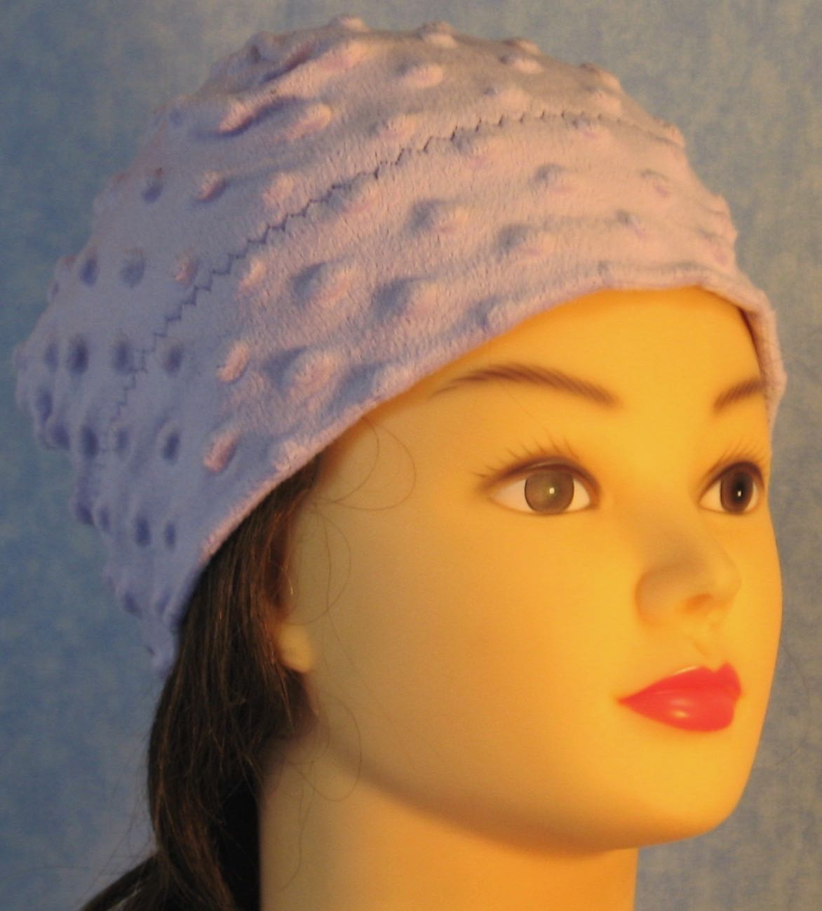 Beanie Band Cap in Lavender Dimple-Youth S-M