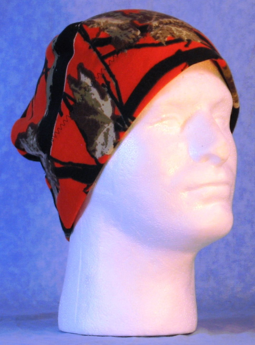Beanie Band Cap in Oak Black on Orange Camo-Adult M