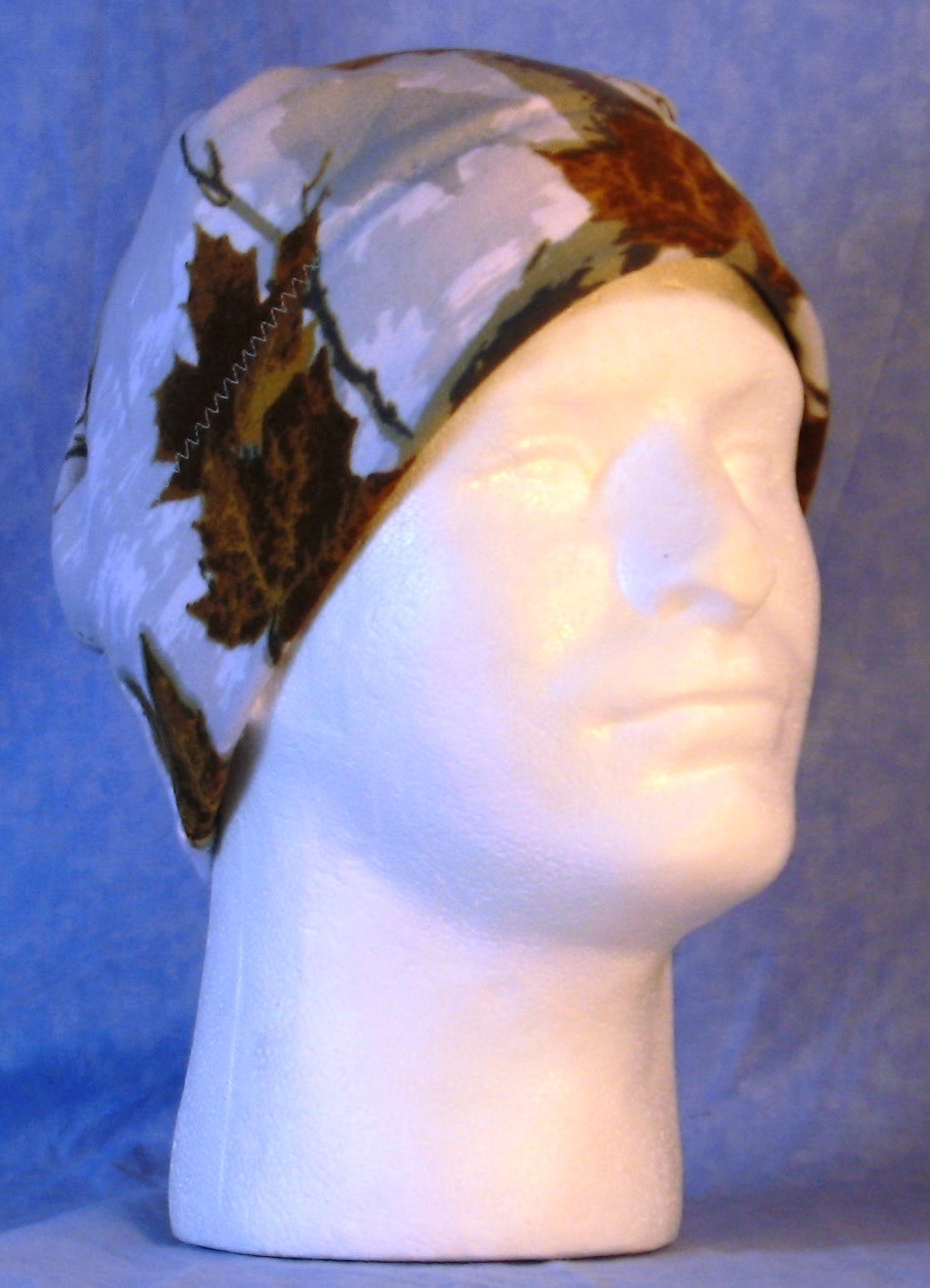 Beanie Band Cap in Oak Gray on White Camo-Adult 1XL