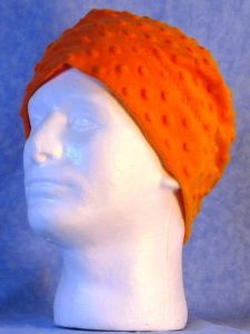 Beanie Band Cap in Orange Dimple - guy front