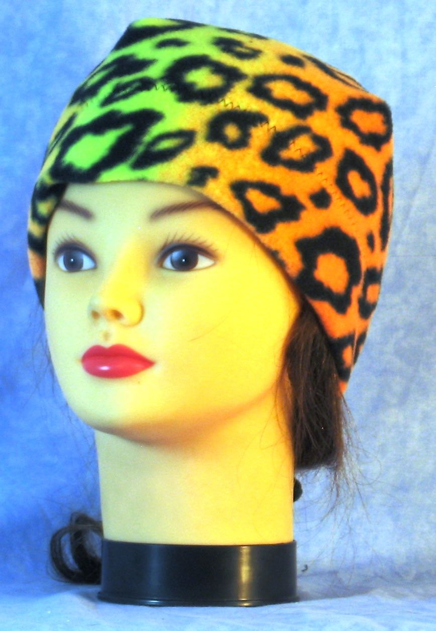 Beanie Band Cap in Orange Yellow Leopard-Youth L-XL