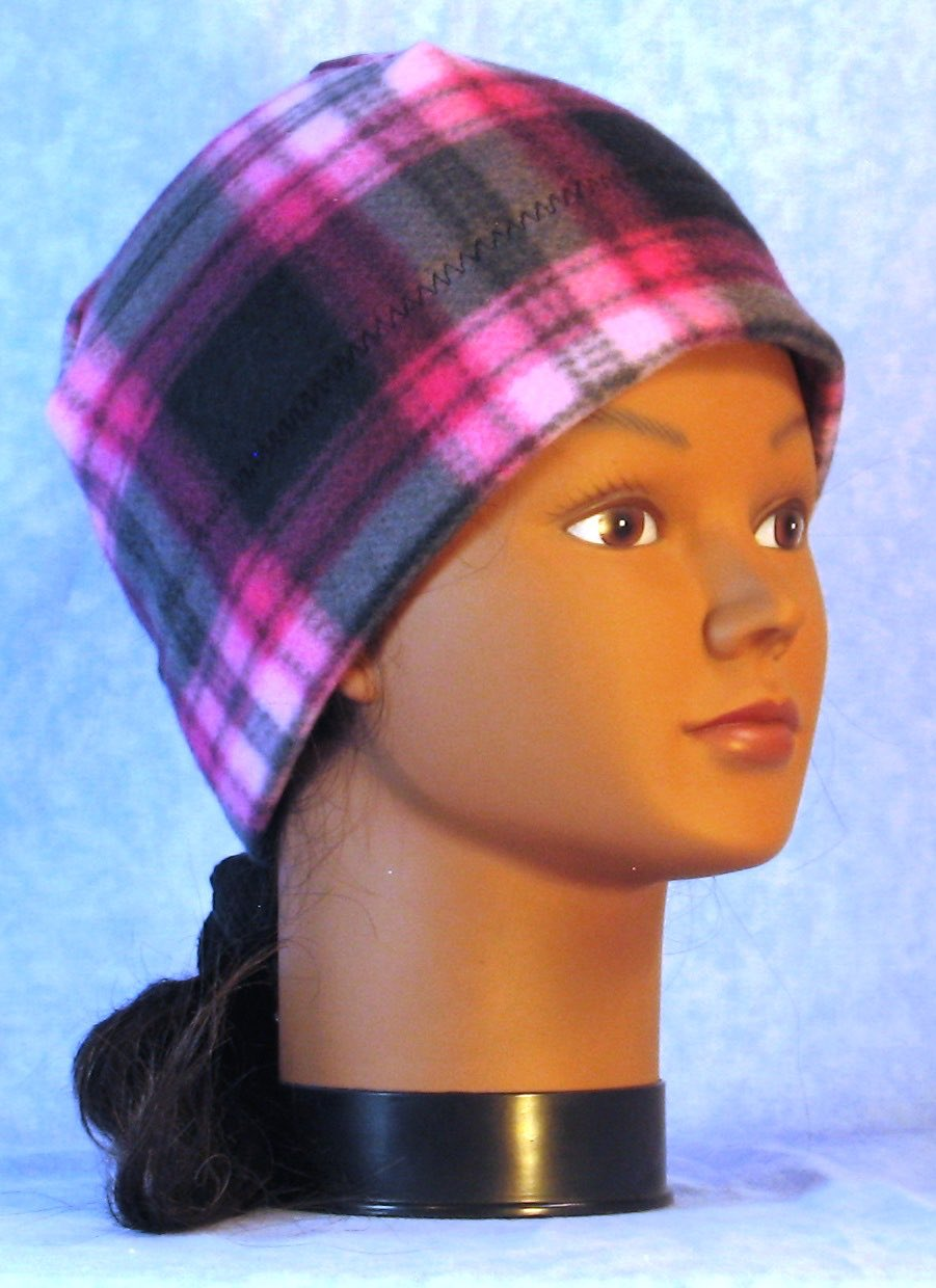 Beanie Band Cap in Pink Black Plaid-Youth L-XL