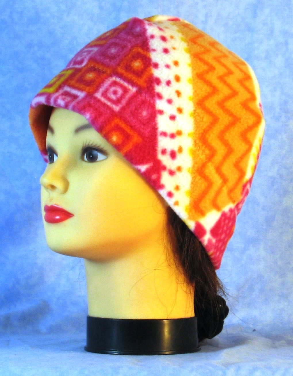 Beanie Band Cap in Pink Orange Yellow Stripe-Adult S