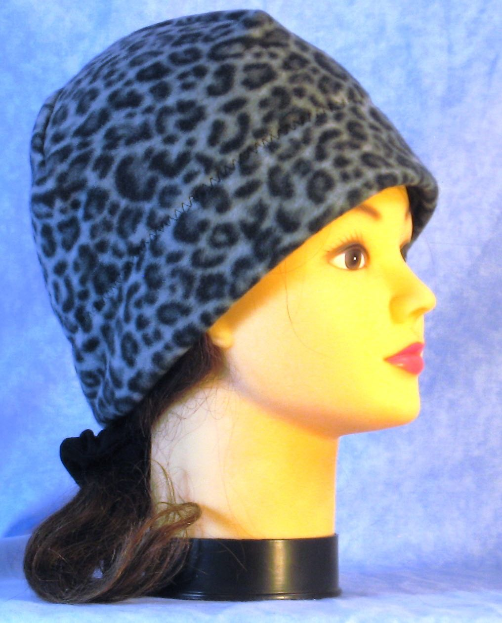 Beanie Band Cap in Black Gray Leopard-Adult S