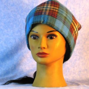 Beanie Band Cap in Blue Brown Purple Plaid - front