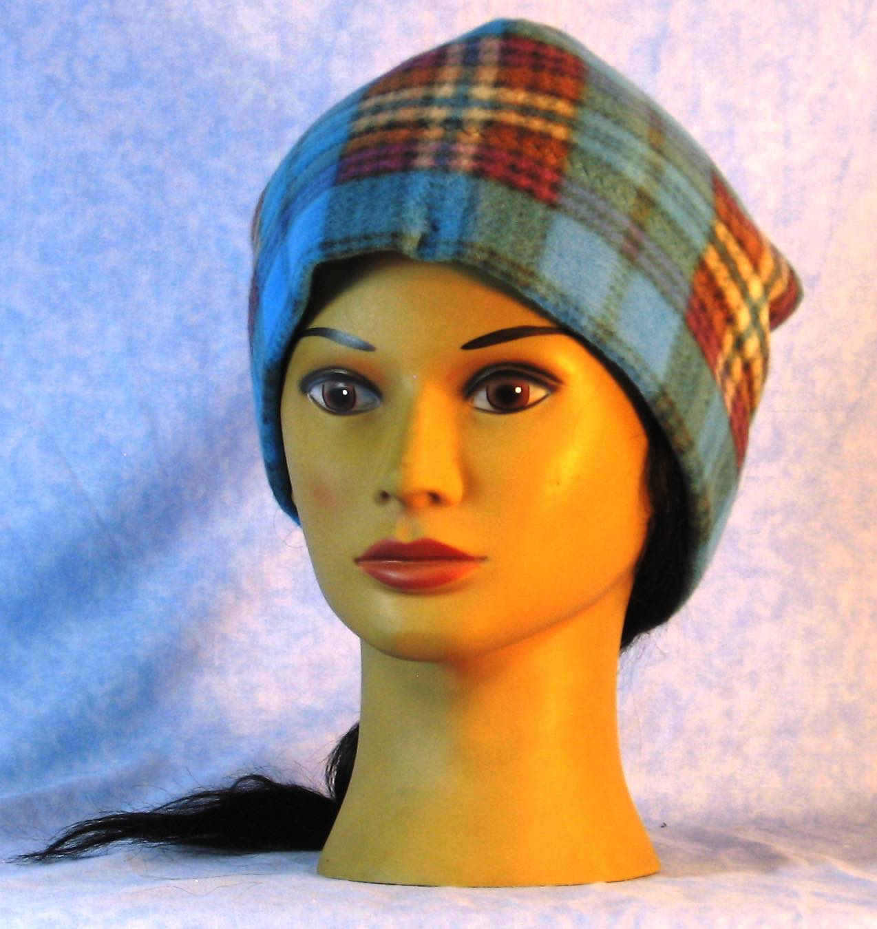 Beanie Band Cap in Blue Brown Purple Plaid-Adult L
