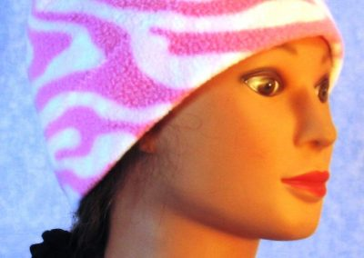 Beanie Band Cap in Pink White Zebra - right