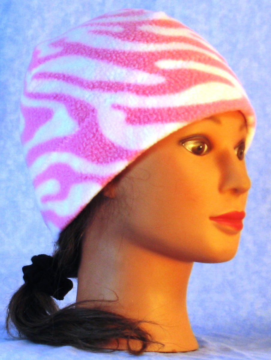 Beanie Band Cap in Pink White Zebra-Youth L-XL