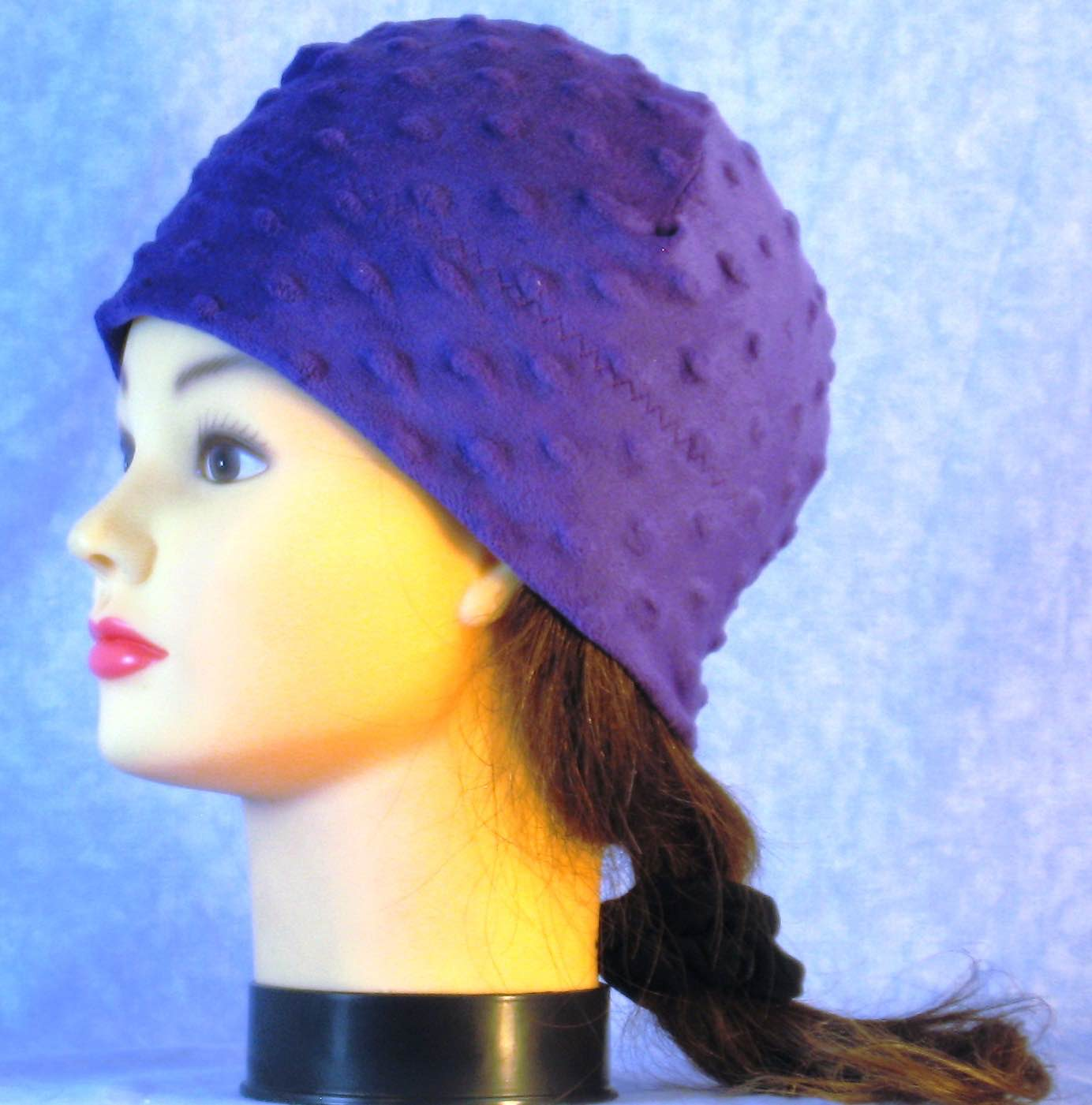 Beanie Band Cap in Purple Dimple-Youth S-M
