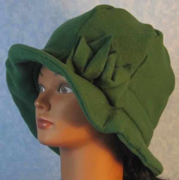 Cloche Hat in Green - left