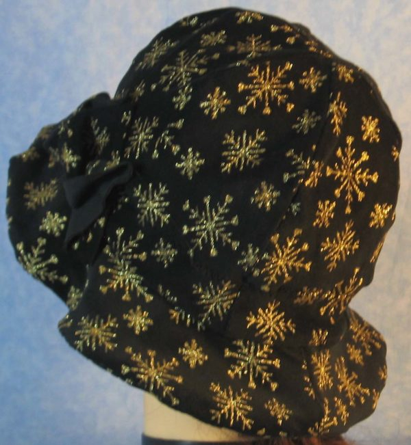 Cloche Hat in Snowflake Black Velvet - back