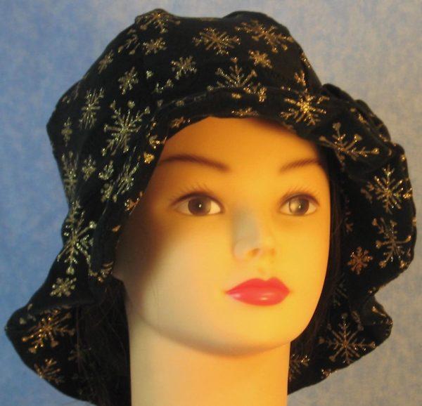 Cloche Hat in Snowflake Black Velvet - front 1