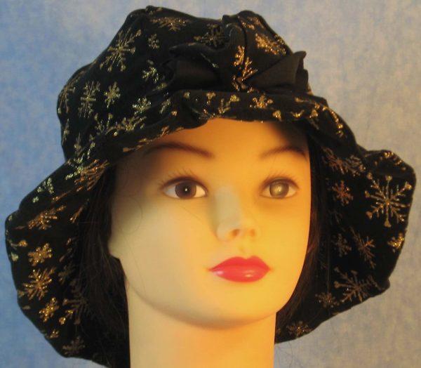 Cloche Hat in Snowflake Black Velvet - front 2