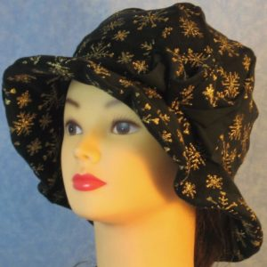 Cloche Hat in Snowflake Black Velvet - left