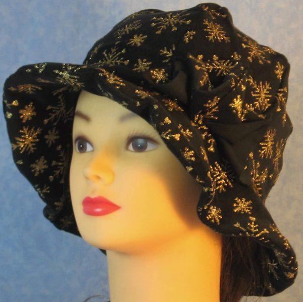 Cloche Hat in Snowflake Black Velvet - left
