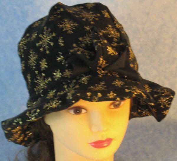 Cloche Hat in Snowflake Black Velvet - top front