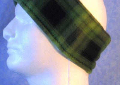 Ear Warmer in Green Black Plaid - left