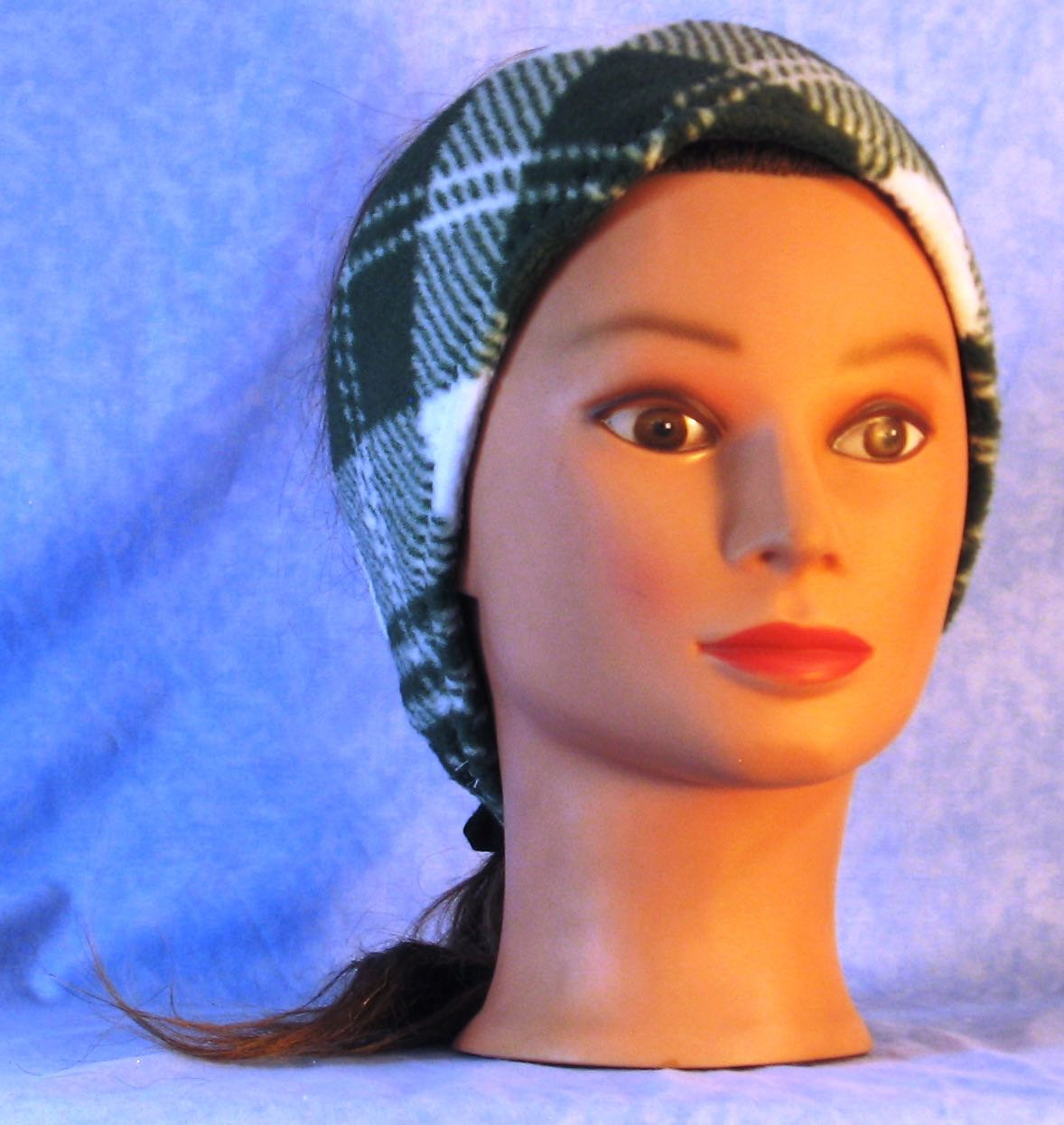 Ear Warmer in Green White Plaid-Adult L