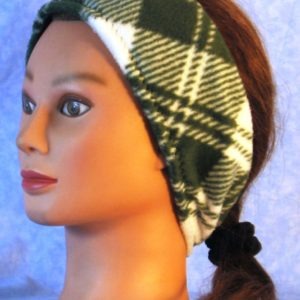 Ear Warmer in Green White Plaid - left