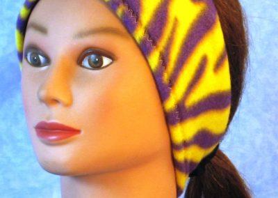 Ear Warmer in Yellow Purple Zebra - left