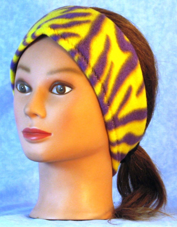 Ear Warmer in Yellow Purple Zebra-Adult M