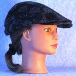 Flat Cap in Black Flower Flannel - right