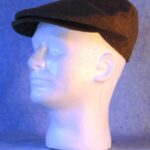Flat Cap in Brown Stripe Suiting - left