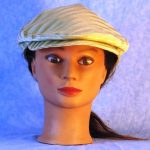 Flat Cap in Cream Stripes Woven - front