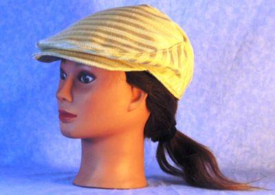 Flat Cap in Cream Stripes Woven - left