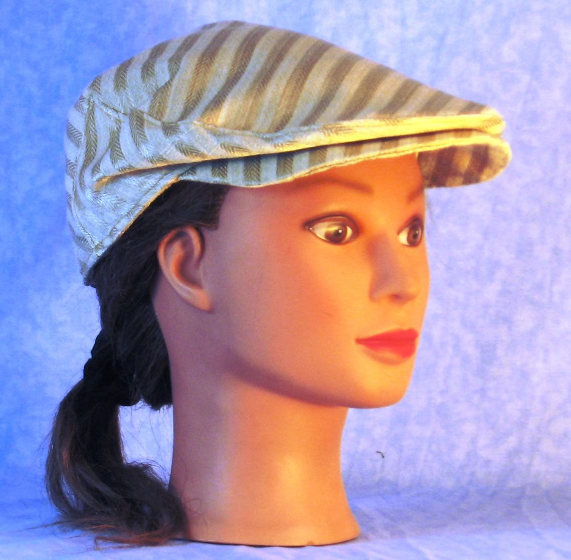 Flat Cap in Cream Stripes Woven - Adult M-XL