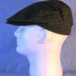 Flat Cap in Olive Camel Black Plaid Flannel - left