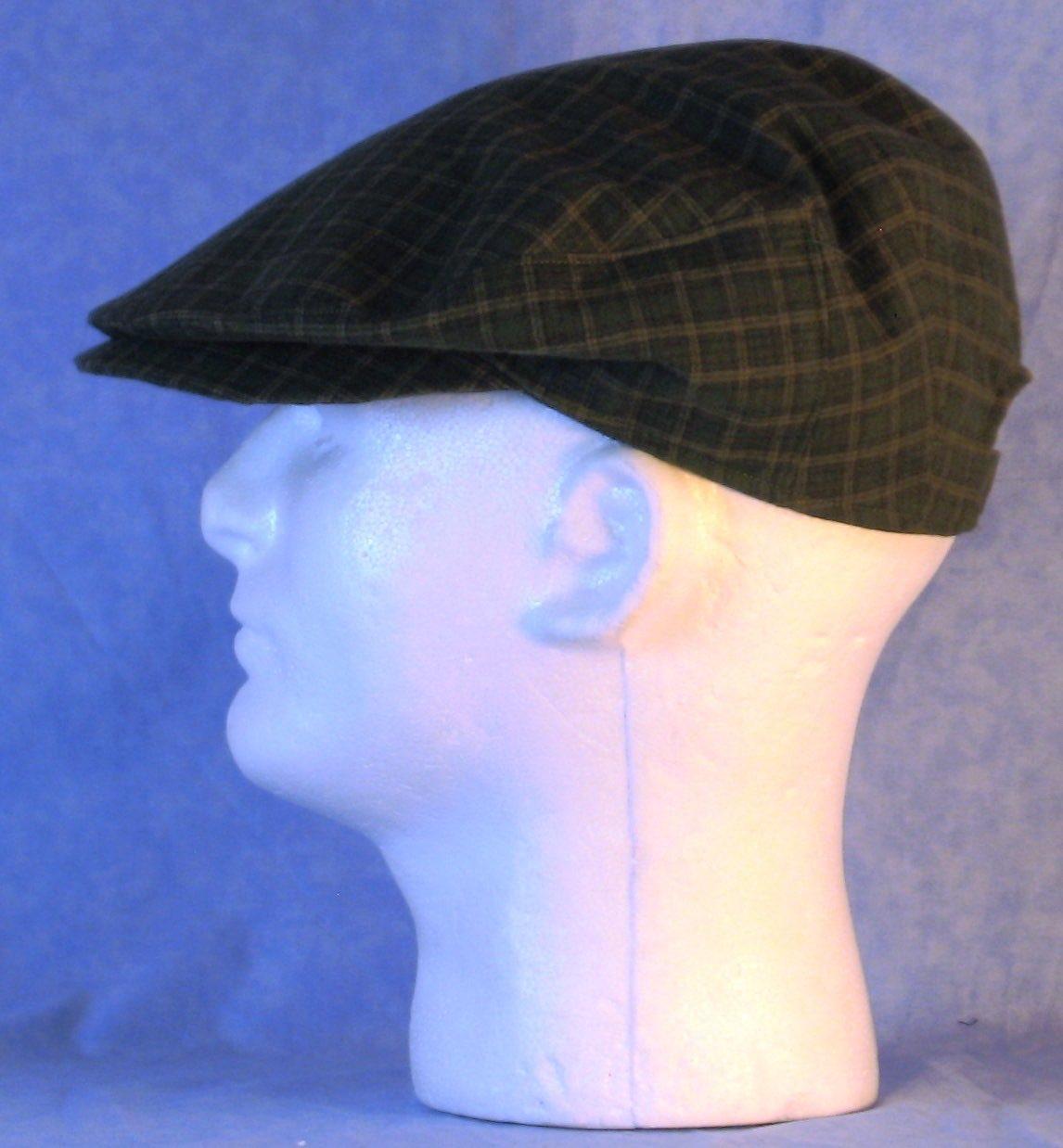 FlatCap-Olive Camel Black Plaid Flannel-left