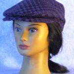 Flat Cap in Purple Black Plaid Houndstooth Wool - left