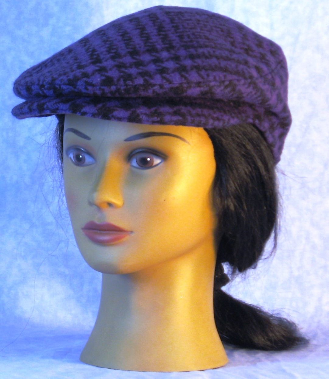 Flat Cap in Purple Black Plaid Houndstooth Wool-Adult M-XL