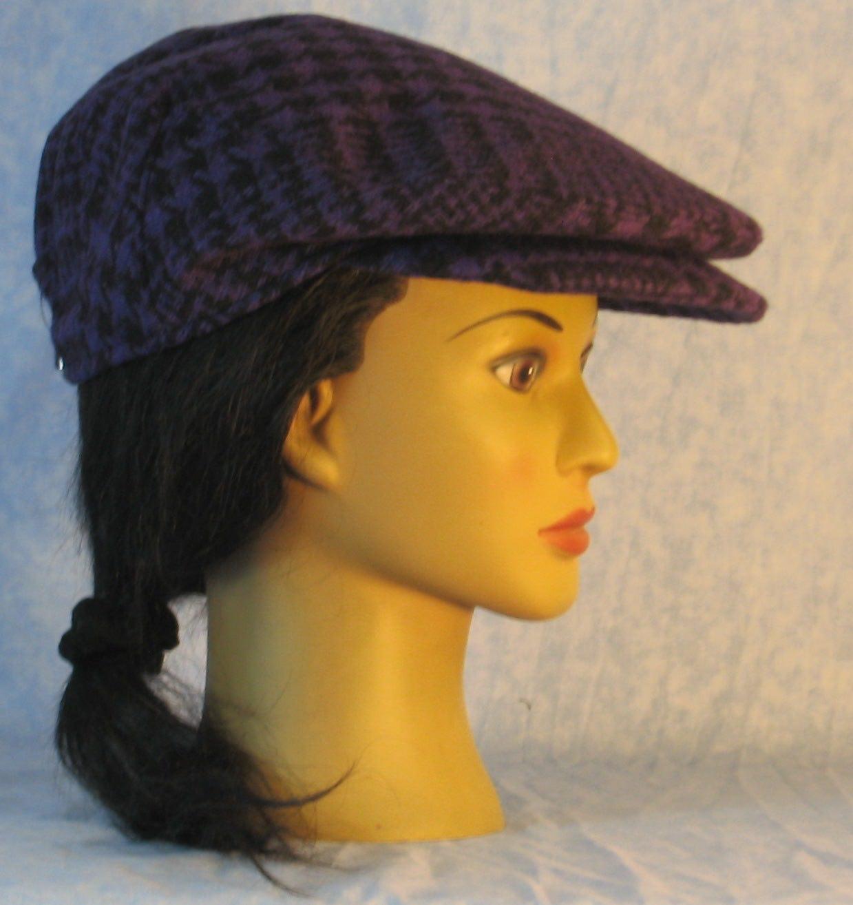 FlatCap-Purple Black Plaid Houndstooth Wool-right