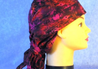 Hair Bag in Red Rose Black Oily Swirls - right