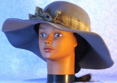 Hat Band in Black Cream Gray Plaid Shirting - front