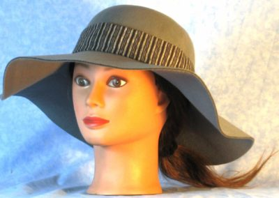 Hat Band in Black Gray Navy Stripe - front