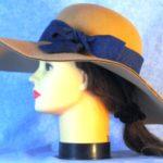 Hat Band in Black Scroll on Royal Blue - left