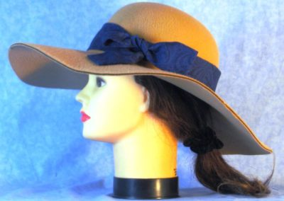 Hat Band in Black Scroll on Royal Blue - left