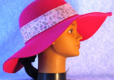 Hat Band in Blue Green Brown Branches on Pink - right