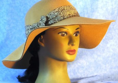 Hat Band in Brown Etching on Cream - front right
