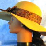 Hat Band in Brown Purple Olive Strokes on Navy - left