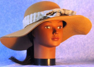 Hat Band in Cream Stripe Woven - front