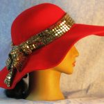 Hat Band in Gold Dots on Gold Black Knit - back