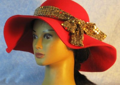Hat Band in Gold Dots on Gold Black Knit - left 2